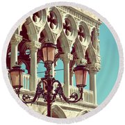 Detail Of Lamp And Columns In Venice. Vertically.  Round Beach Towel