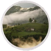 Detail Of Rolling Fog At Sunrise In The Skofjelosko Hribovje Hil Round Beach Towel
