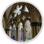 Detail Of Salisbury Cathedral Cloister  Round Beach Towel