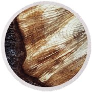 Detail Of Sawing Wood With Bark Round Beach Towel