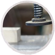 Detail Of The Chuck In The Carpentry Workshop - Shallow Depth Of Round Beach Towel