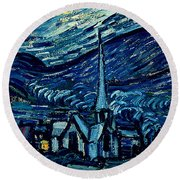 Detail Of The Starry Night Round Beach Towel
