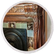 Detail Of Wood Carving And Tiles - Historic Fireplace Round Beach Towel