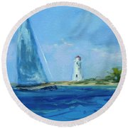 Sailing By The Light Round Beach Towel