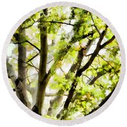 Detailed Tree Branches 3 Round Beach Towel
