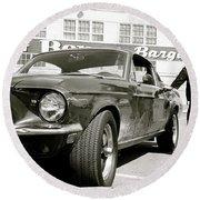 Detective Lieutenant Frank Bullitt, Steve Mcqueen, 1968 Ford Mustang Gt 390 Round Beach Towel