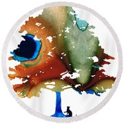 Determination - Colorful Cat Art Painting Round Beach Towel
