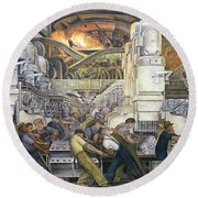 Detroit Industry   North Wall Round Beach Towel