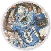 Detroit Lions Calvin Johnson 3 Round Beach Towel