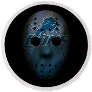Detroit Lions War Mask 2 Round Beach Towel