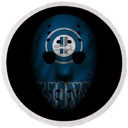 Detroit Lions War Mask Round Beach Towel