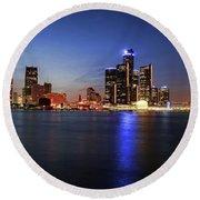 Detroit Skyline 1 Round Beach Towel by Gordon Dean II