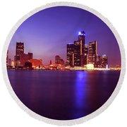 Detroit Skyline 2 Round Beach Towel