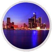 Detroit Skyline 3 Round Beach Towel