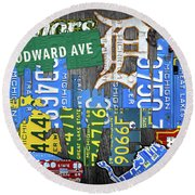 Detroit The Motor City Michigan License Plate Art Collage Round Beach Towel