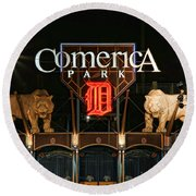 Detroit Tigers - Comerica Park Round Beach Towel by Gordon Dean II