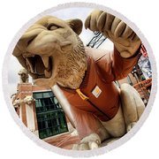 Detroit Tigers Tiger Statue Outside Of Comerica Park Detroit Michigan Round Beach Towel by Gordon Dean II