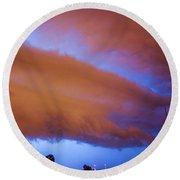 Developing Nebraska Night Shelf Cloud 016 Round Beach Towel