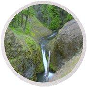 Devil Creek Falls   Round Beach Towel