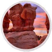 Devils Garden Pink Sunset Round Beach Towel