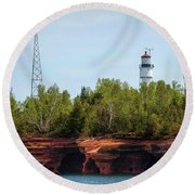 Devils Island Apostle Islands Lighthouse Round Beach Towel