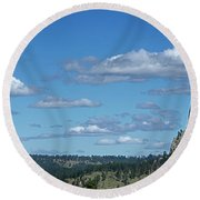 Devils Tower And The Missouri Hills Round Beach Towel