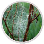 Dew Covered Spider Web Round Beach Towel