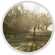 Dewdrop Sunrise Round Beach Towel