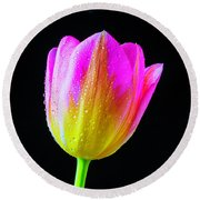 Dewy Pink Yellow Tulip Round Beach Towel