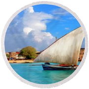 Dhow Off Zanzibar Round Beach Towel