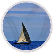 Dhow On The Indian Ocean Round Beach Towel