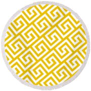 Diagonal Greek Key With Border In Mustard Round Beach Towel