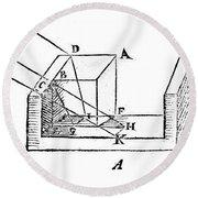 Diagram Showing Refraction, Kepler, 1611 Round Beach Towel