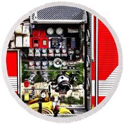 Dials And Hoses On Fire Truck Round Beach Towel