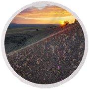 Diamond Craters Sunset Round Beach Towel