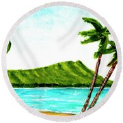 Diamond Head And Waikiki Beach #351 Round Beach Towel