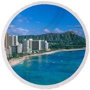 Diamond Head And Waikiki Round Beach Towel
