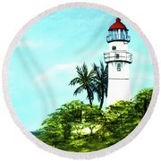 Diamond Head Lighthouse #10 Round Beach Towel