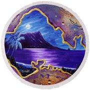 Diamond Head Moon Oahu #141 Round Beach Towel