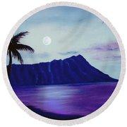 Diamond Head Moon Waikiki #34 Round Beach Towel