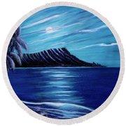 Diamond Head Moon Waikiki Beach #288 Round Beach Towel