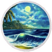 Diamond Head Moon Waikiki Beach #407 Round Beach Towel