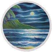 Diamond Head Moon Waikiki Beach  #409 Round Beach Towel