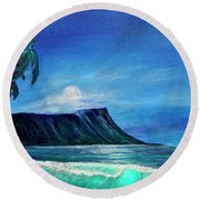 Diamond Head Moonscape #371 Round Beach Towel