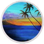 Diamond Head Sunrise #327 Round Beach Towel