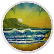 Diamond Head Sunrise #381 Round Beach Towel