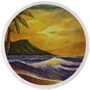 Diamond Head Sunrise Oahu #414 Round Beach Towel