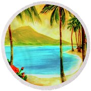 Diamond Head Waikiki Beach #127 Round Beach Towel