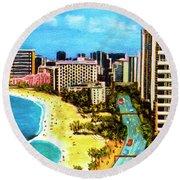Diamond Head Waikiki Beach Kalakaua Avenue #94 Round Beach Towel