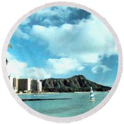 Diamond Head Round Beach Towel